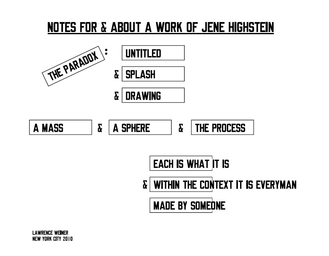 Lawrence Weiner on Jene Highstein